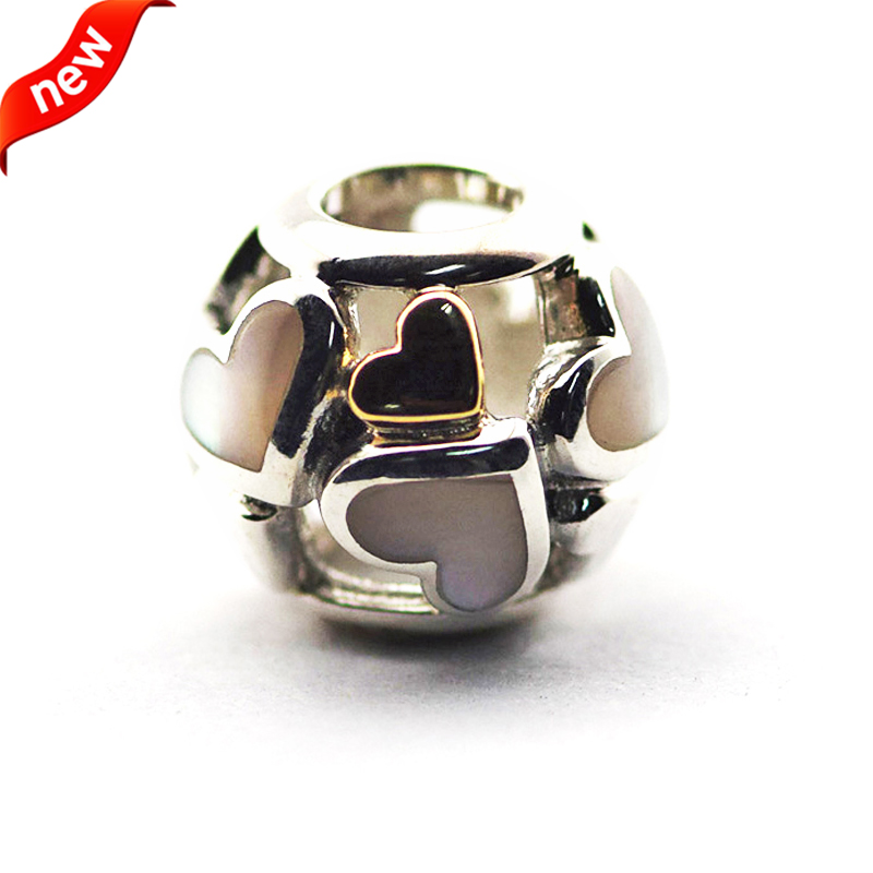 d693e2769 Fits for Pandora Bracelets Luminous Hearts Charms with Mother Of Pearl 100% 925  Sterling Silver Beads Free Shipping-in Beads from Jewelry & Accessories on  ...