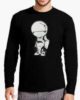 2017 Otoño y El Invierno de La Venta Caliente camisetas de Manga Larga homme Paranoid Android Carta tees hombres Ropa de Manga Larga de Punto