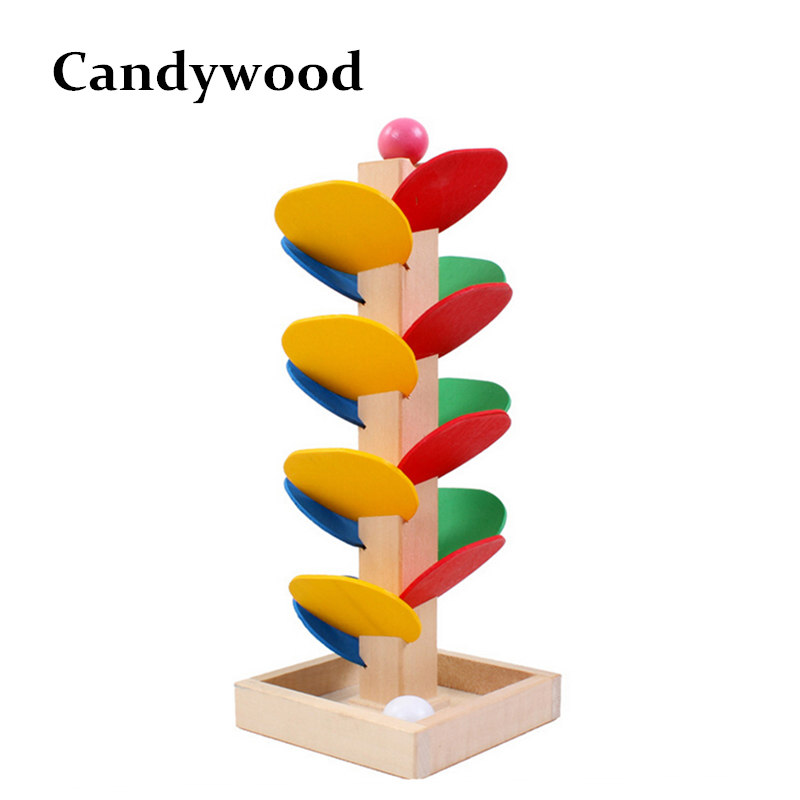 Wooden Montessori Toys Wooden Tree Marble Ball Run Track Game Wooden Toys for Children Intelligence Early Educational free ship 1 set of 100pc children kids natural wooden build blocks montessori sensorial early development educational material