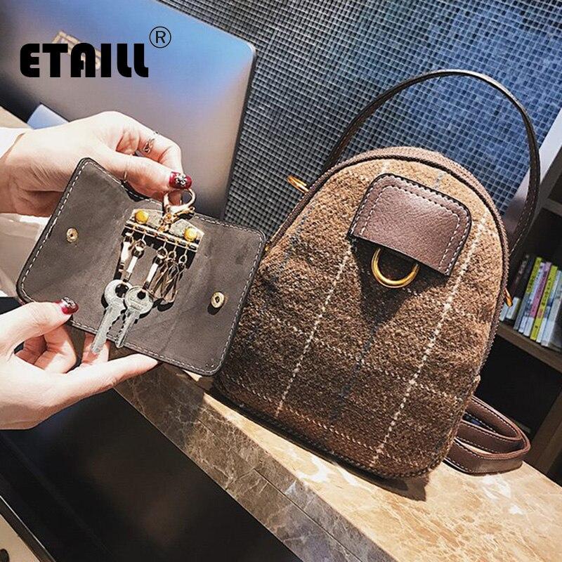 Etaill в студенческом стиле Винтаж сумка Англия плед Crossbody сумка 2018 Новый ручка сверху небольшой площади сумка с брелок сумка