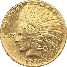 24 K позолоченный 1933 индийский головы$10 золотая монета КОПИЯ