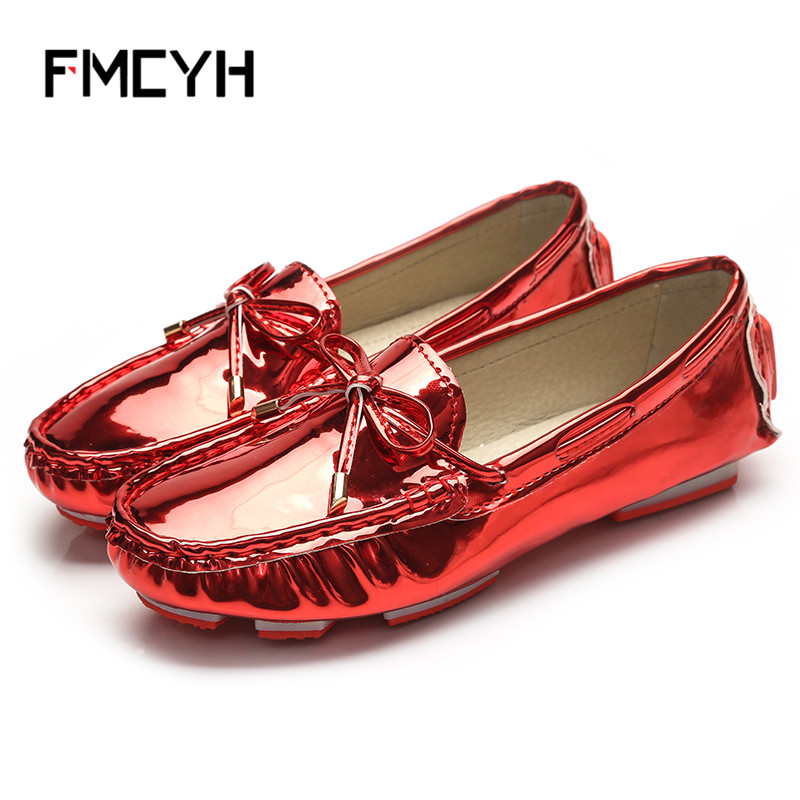 FMCYH Flat Shoes Women Slip On Moccasin For Woman Loafers Patent Leather Women's Bowtie Ballet Flats Bling Womens Shoes Casual lypo new women casual flat shoes woman squard toe ballet flats loafers peas fashion bowtie slip on boats soft lazy shoes