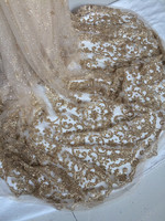 Wonderful Beige With Gold Sequins French Lace Fabric African Net Lace Tulle Material For Evening Dress