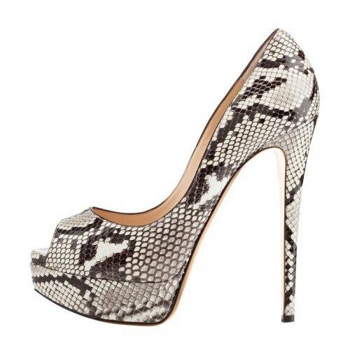 ФОТО Snakeskin Women Pumps Platform High Heels Peep Toe OL Shoes Women Designer Heels Casade Shoes Women