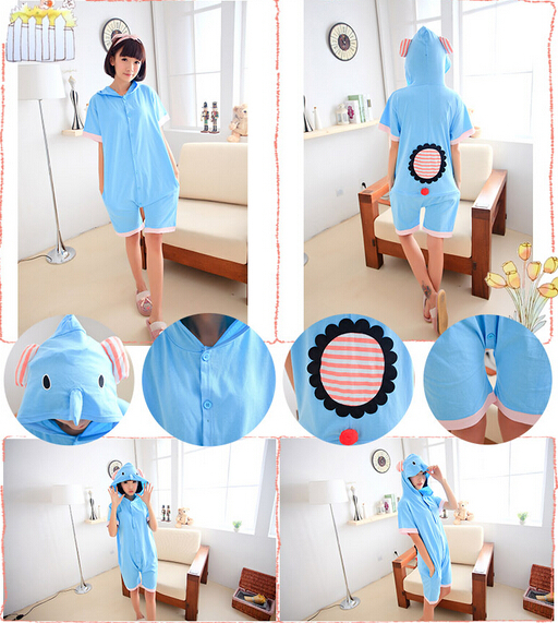 2fb4cf4486 Adult Summer animal blue elephant onesie short sleeve pajamas women men  Anime costume onesie sleepwear pyjamas jumpsuit S M L XL on Aliexpress.com