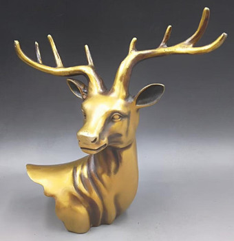 CHINESE BRASS HAND-CARVED Deer head statues