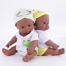 30cm Soft Silicone Black Baby Reborn Realista Doll with Bebe Clothes Newborn Simulation Baby Doll Toys(China)