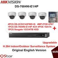 אנגלית המקורי hikvision h.264 מערכת מעקב 4 יחידות ds-2cd2142fwd-is 4mp הקלטת nvr מצלמת ip poe + 6mp ds-7604ni-e1/4 p