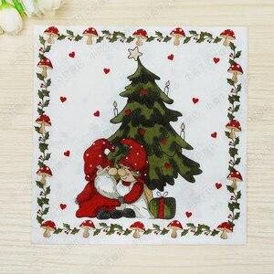 Image 5 - 20 בציר מפית נייר מודפס סנטה קלאוס איש שלג צביים מגזרת נייר servilletas חתונה חמוד ילדים מסיבת יום הולדת דקור