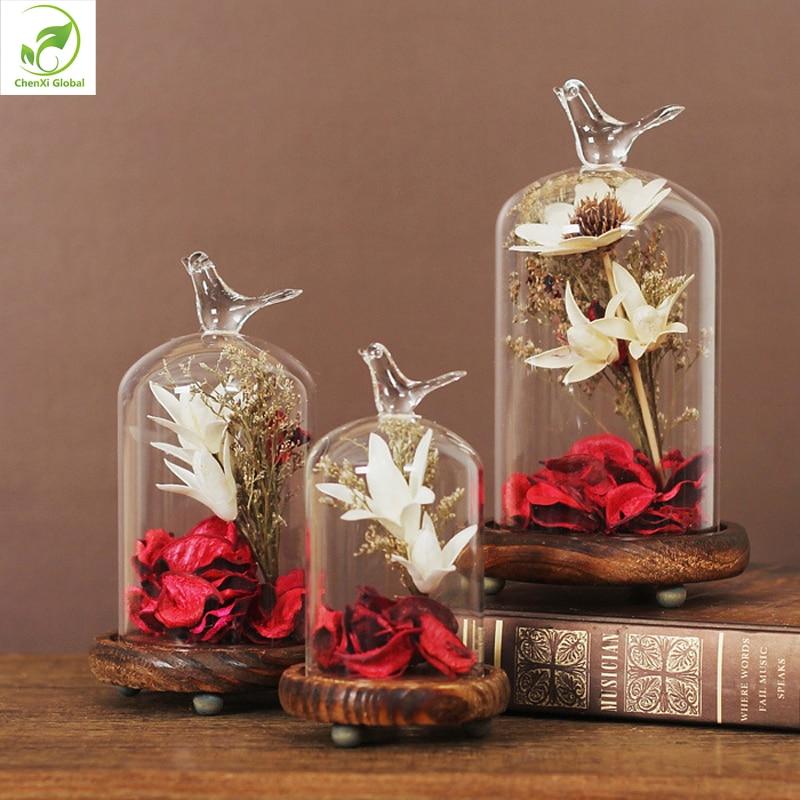 1 Set Seal <font><b>Plants</b></font> Glass Cover Fillers Terrarium Succulent Fern Moss Tabletop Planter Flowers Micro Landscape Decorations Vase