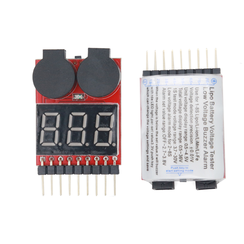 1-8S Lipo <font><b>Battery</b></font> Voltage Tester Low Voltage <font><b>Volt</b></font> Buzzer Alarm <font><b>Battery</b></font> Lipo Voltage Indicator Monitor checker with LED light <font><b>20</b></font>% image
