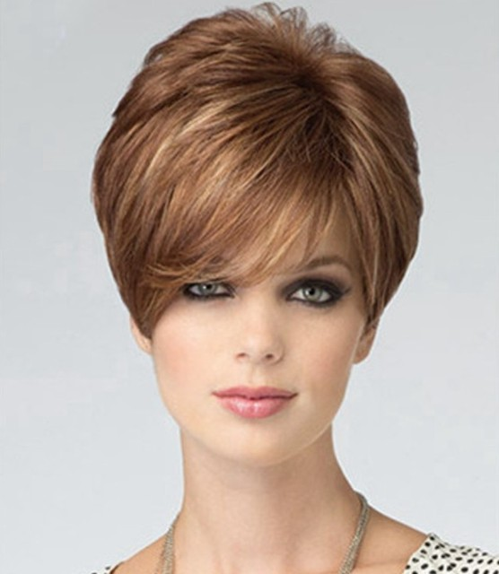 Beautiful Pixie Cut Style Short Straight Hair Blonde Wig With Full