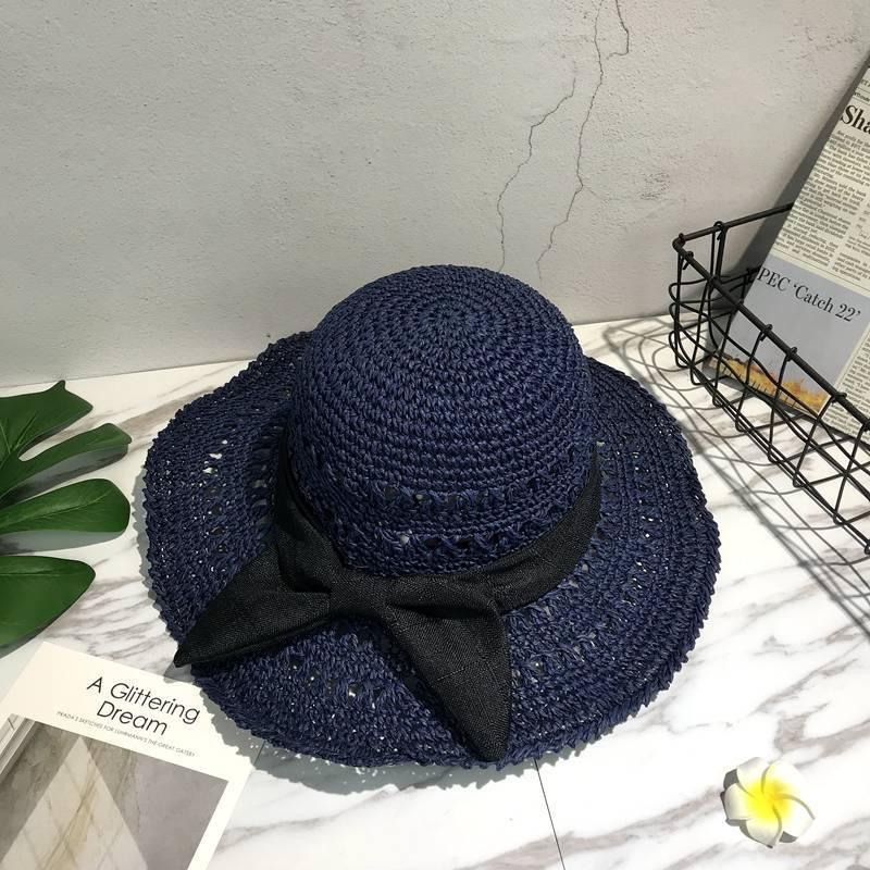 2018 women vachiam Elegant Women Summer Temperament Straw Hat Lace Ribbon Lace-Up Beach Caps Fashion Ladies Panama Sun Hat R35