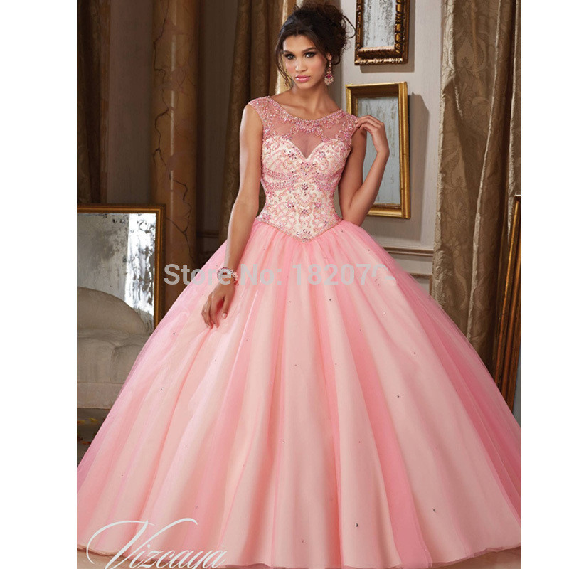 Pink Puffy Cheap Quinceanera Dresses 2019 Ball Gown Cap Sleeves Tulle Beaded Crystals Elegant Sweet 16 Dresses