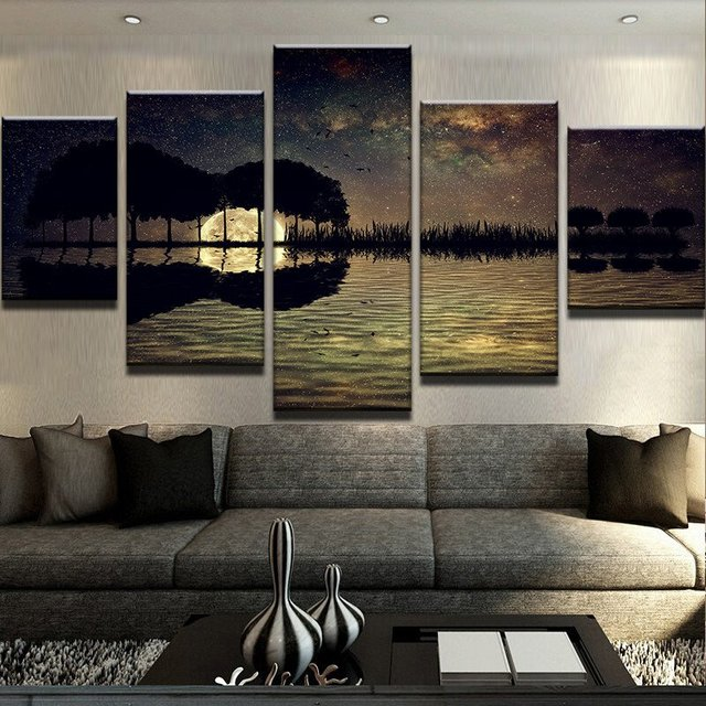 HD Canvas Painting 5 Panels SCENIC GUITAR DARK NIGHT Wall Art Prints ...