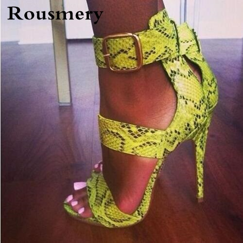 Big Buckle Python Print Sexy Women Sandals High Heels Stiletto Open Toe Women Pumps Summer Ladies Party Shoes Woman Big Size 42