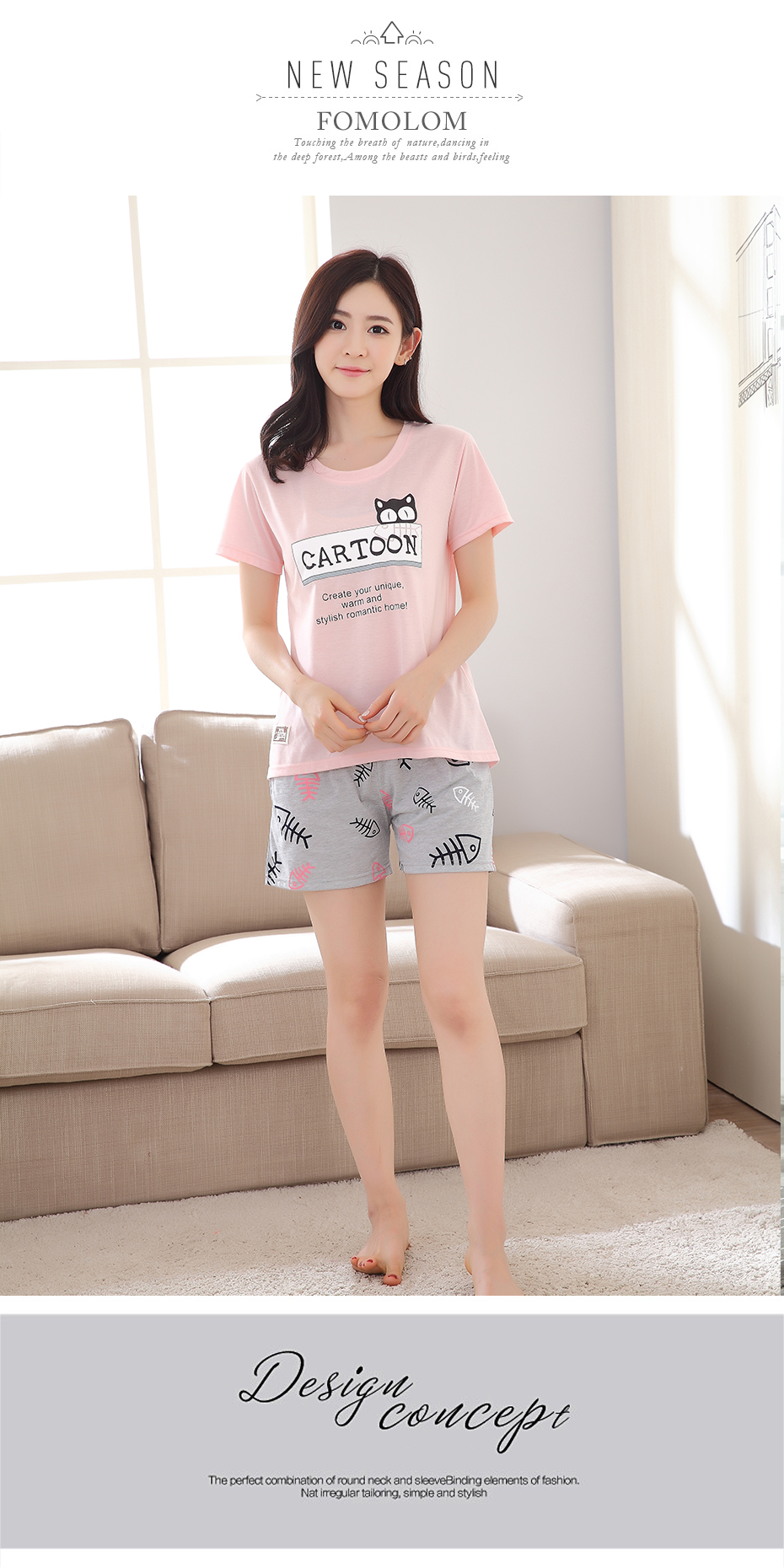 1c0b9b4bee 2019 Pink Korean Style Women Pajamas Set Summer Cat Print Tees+ ...