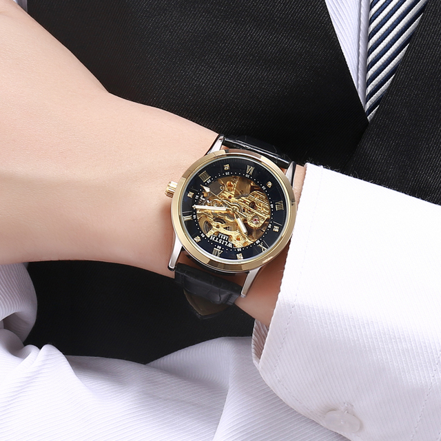 WLISTH New Watch Men Skeleton Automatic Mechanical Watch Gold Skeleton Vintage Man Watch Mens FORSINING Watch Top Brand Luxury 2