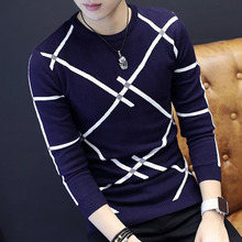 Men slim sweater 2019 autumn and winter Korean style male sweater student o-neck thermal casual stripe knitted tops teenage boy