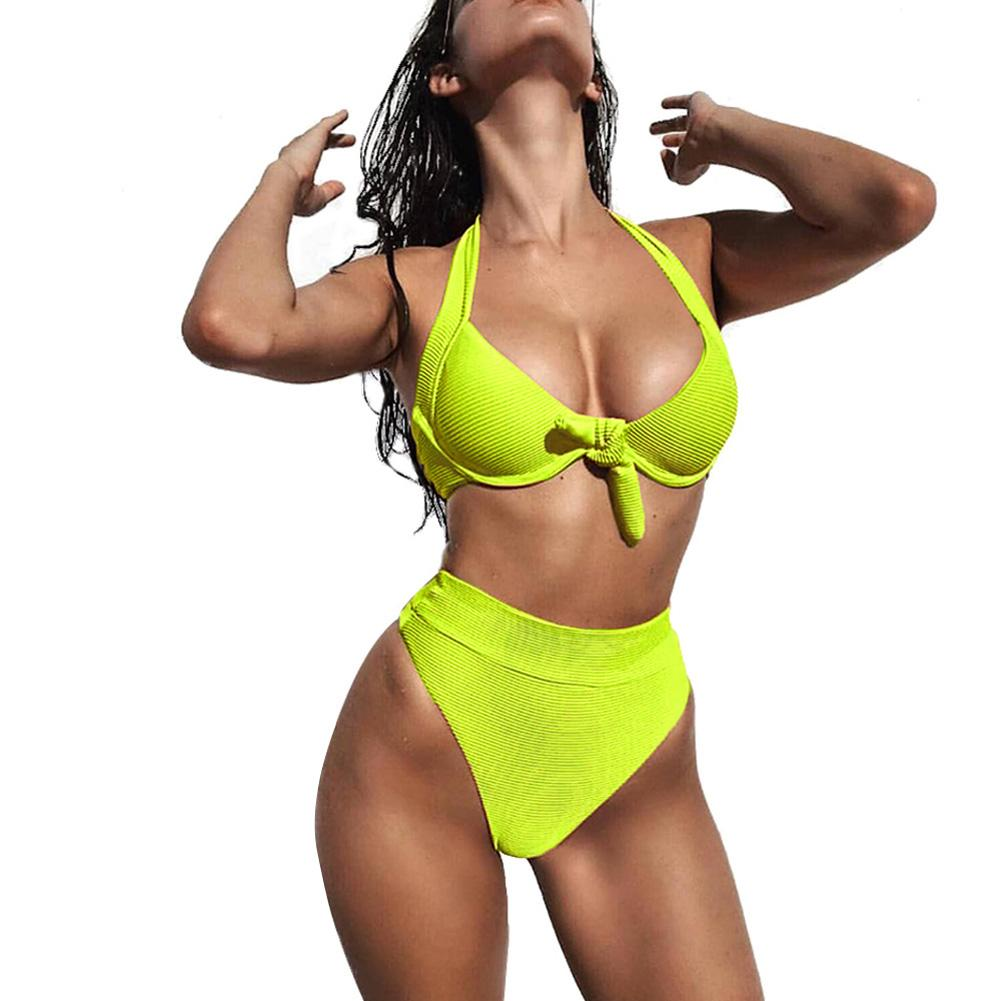Halter neon <font><b>bikinis</b></font> <font><b>2019</b></font> <font><b>mujer</b></font> <font><b>Push</b></font> <font><b>up</b></font> swimsuit female <font><b>Sexy</b></font> swimwear women bathing suit biquini Summer beach wear new image