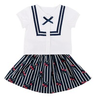 2 PCs Summer Baby Girl S Clothes Set Cotton Short Sleeve Top With Cherry Printed Skirt
