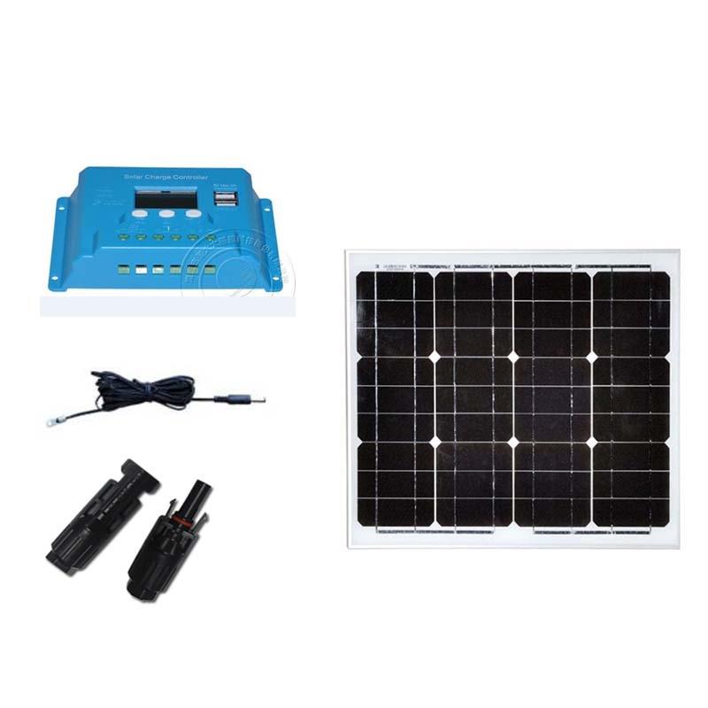 Kit Solar Panel 12v 30W Battery Solar Controller 12v/24v 10A PWM Portable LED Light Laptop Camping Car Caravane RV Motorhome kit solaire 24v 200w solar panel 12v 100w 2 pcs solar charger battery solar controller 12v 24v 20a camping car caravane rv