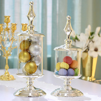 Candy jar silver with transparent glass Candy pot Storage Bottles & Jars Wedding decorations Home decorations