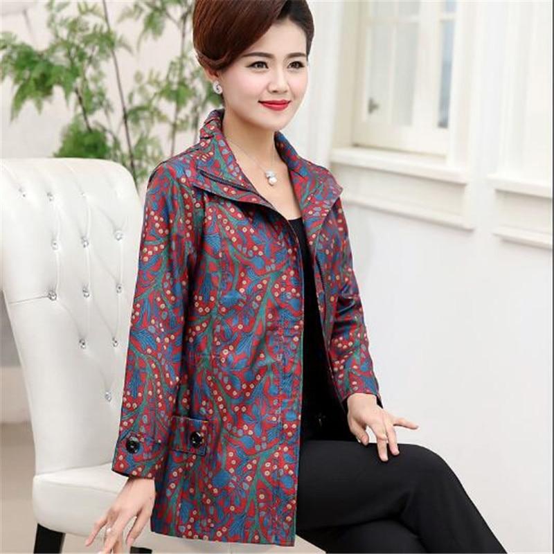 5xl Femmes Veste red Loisirs Plus Manteau De Survêtement Nouvelle Mode Femelle Moyen Printemps La Nouveau Coupe Gamme Haut L D'âge Imprimer Blue Taille Automne vent QhrdCts