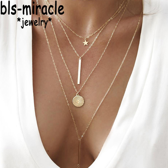 Bls-miracle Bohemian Long Pendant Necklaces Lady Vintage Gold Star Star Necklace