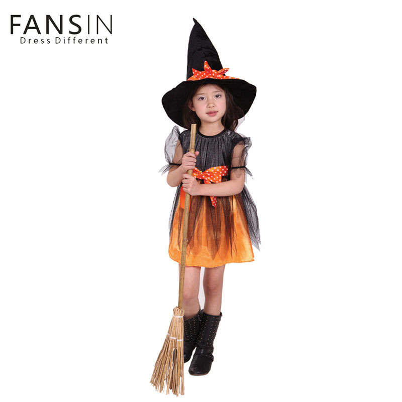 Dress+Hat For Witch Girls Princess Dresses Cosplay Clothes Fansin Brand New Halloween Children's Clothing Christmas Party Baby цена