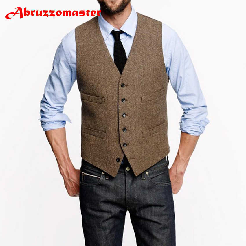 Abruzzomaster Farm Wedding Vintage brązowy Tweed kamizelki Custom Made Groom kamizelka mężczyzna Slim Fit szyte na miarę ślubna kamizelka