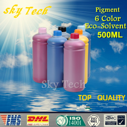 500ML*6 Pigment Eco Solvent Ink suit for Roland and mutoh printer , Outdoor Advertising Ink For banners canvas PVC etc hot sale solvent ink pump for roland printer with best price