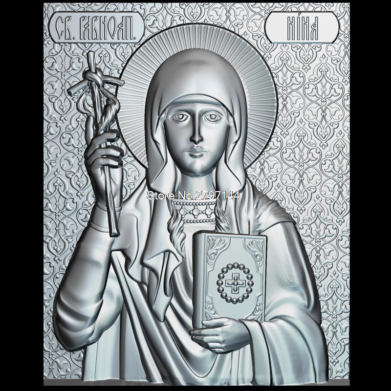 The icon of St.Equal to the Apostles Nina 3d model for cnc STL format Religion 3d Relief Model STL Router 3 axis Engraver ArtCam theotokos mother of god 3d model for cnc stl format religion 3d relief model stl router 3 axis engraver artcam