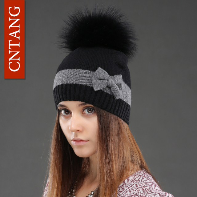 Winter Cashmere Knitted Bowknot Beanies For Female Natural Raccoon Fur Hats Women Fashion Skullies Caps Warm Wool Pompom Hat