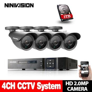Sistema de CCTV 4CH 1080P AHD DVR 4 Uds 2,0mp IR Cámara impermeable al aire libre sistema de seguridad del hogar Kits de vigilancia alerta de correo electrónico 2TB