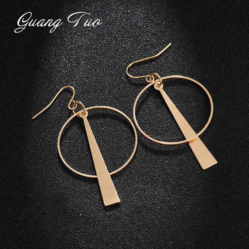 Korea Earring Fashion Jewelry Temperament Retro Long Earrings Circle Triangle Geometric Earrings For Women Statement Earrings