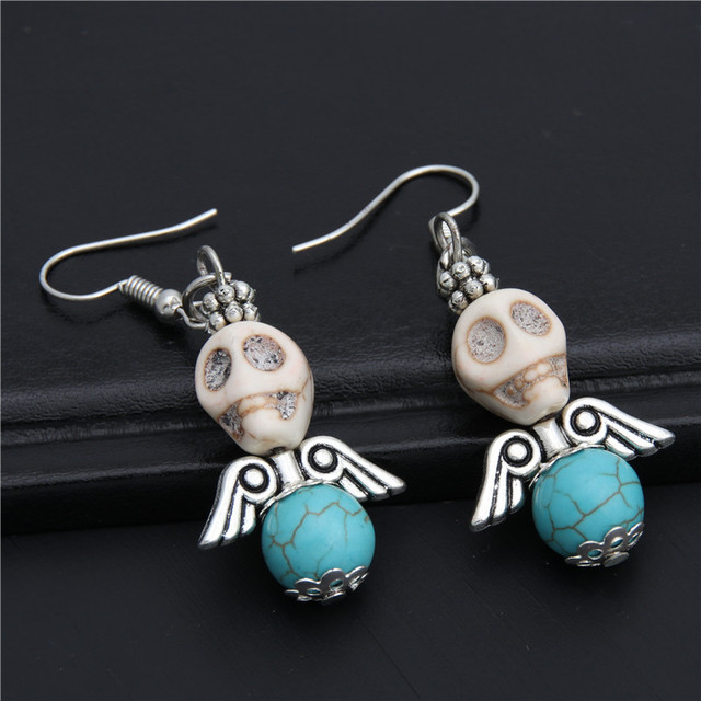 1pair Skull With Angle Wings Earrings Dia De Los Muertos Earring Jewelry Gift For Women