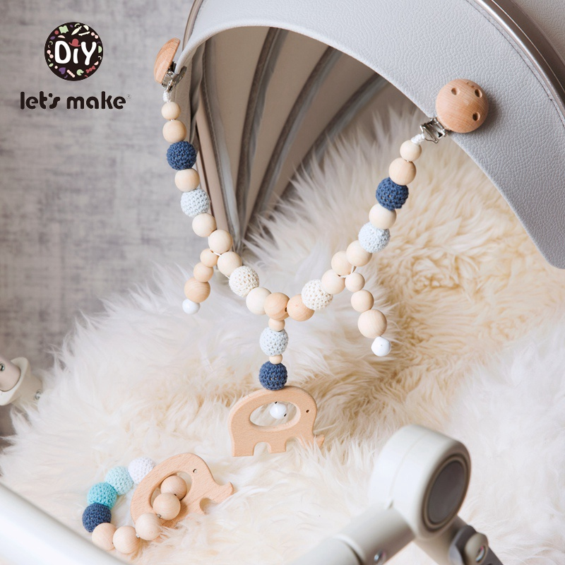 Let's Make Wood Teether Baby Bed Hanging Rattles Toy Make Noise Bird Elephant Shape Crochet Beads Bracelet Pram Clip Baby Rattle