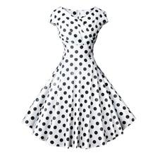 Vintage Black Polka Dot Dress Women Hepburn Style White Sweet Stylish Printed Slim Elegant Ladies Party Rockabilly Swing Dresses stylish white polka dot pattern 6cm width men s black tie