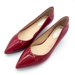Image 2 - 2019 neue Marke Frühjahr Pumpen frauen Schuhe Mode Patent leder Frauen 4cm Hohe Ferse Einzelnen Schuhe Büro Dame frauen Schuhe