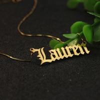 Venta al por mayor de plata sólida inglés antiguo fuente personalizada nombre collar 925 personalizada placa joyería Navidad regalo