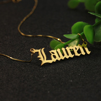 Wholesale Solid Silver Old English Font Customized Name Necklace 925 Silver Personalized Nameplate Jewelry Christmas Gift