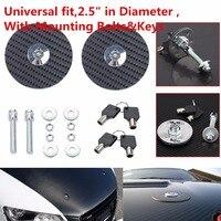 Triclicks Universal Black Racing Mount Bonnet Carbon Fiber Hood Pins Latch Key Locking Kit Auto Car Hood Pin Lock Bolts&Keys New