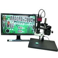 14MP HDMI USB Digital Microscope Camera+360 Free Rotation Table+10X 180X Optical C Mount Lens+LED Lights