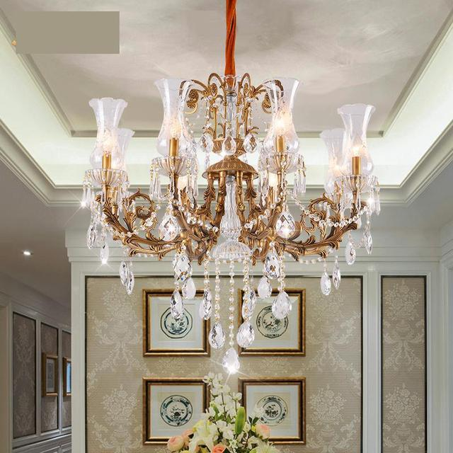 Customized Bronze Glass Shade Dining Room Chandelier Lighting Copper Vanity Project Living Led