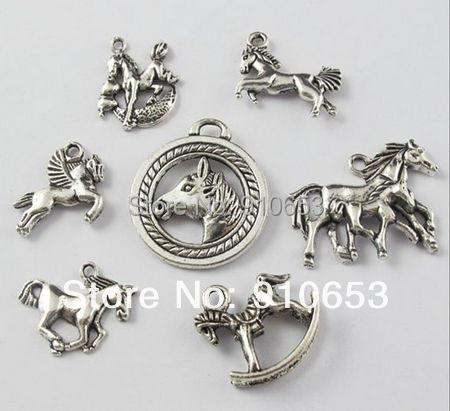 140 Pcs Tibetan Silver Mixed Horse Charm Pendant For Jewelry Making Craft DIY Q407