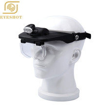 цены EYESHOT 1.2X-3.5X Hands free magnifier helmet magnifying glass loupe with lamp 4 Lens for watch jewelry repair