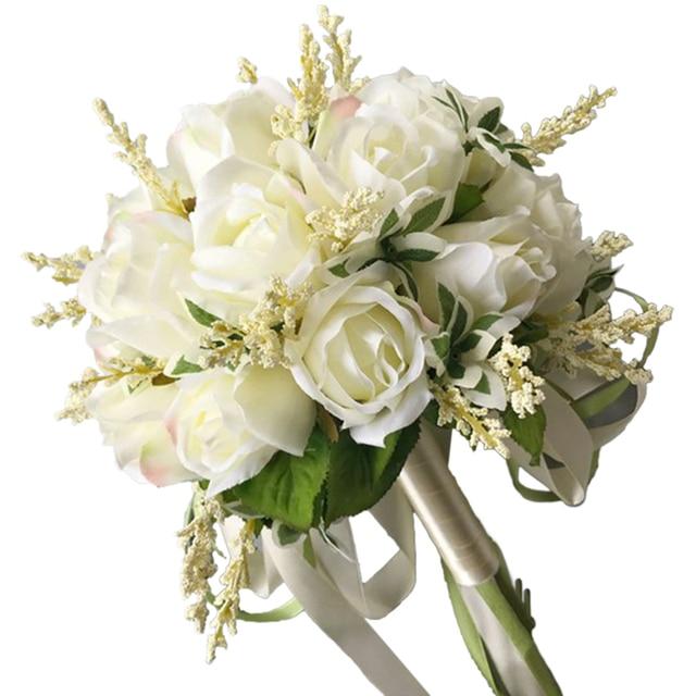 Arrivee Bouquets De Mariee Femmes Mariage Bouquet Fleurs Artificielles Blanc Casse 23 Cm Faites A La Main Pour Demoiselle D Honneur