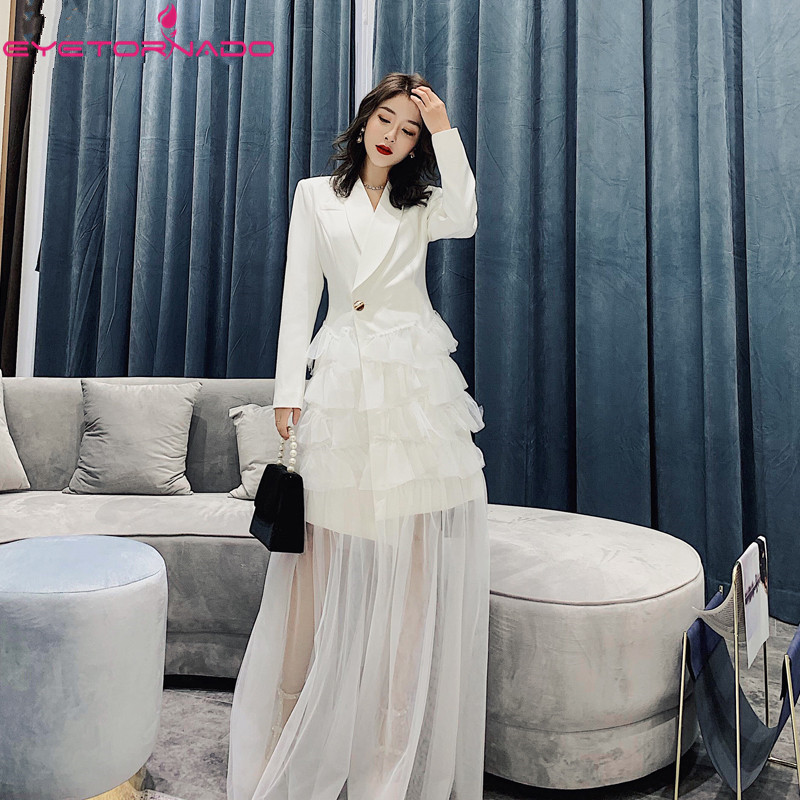 Designer Women Fashion Runway Notched Blazer Dress Spring Summer Sexy Long White Mesh Ruffled Prom Party