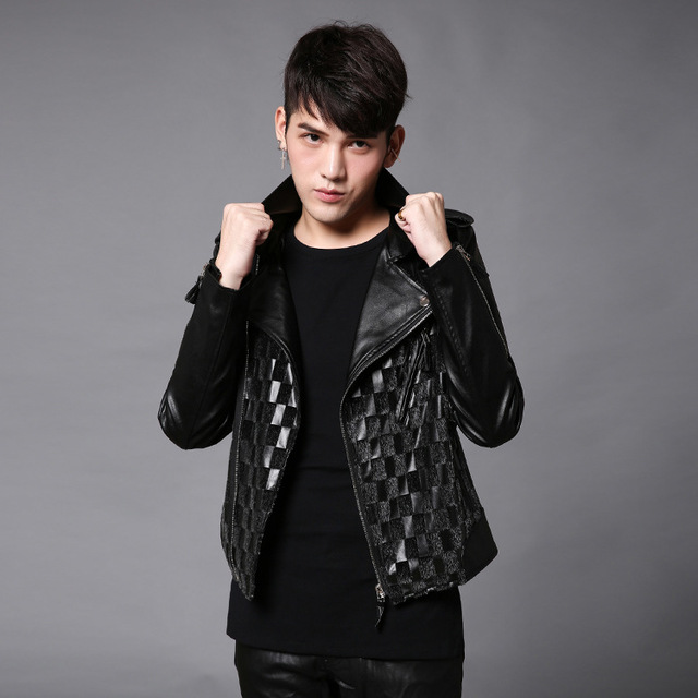 2017 new men leather jacke splice motorcycle leather jackets male fashion casual coat rock punk style stage clothing W120